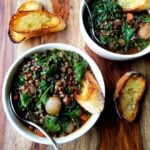Red Wine Braised Lentils w/ Spinach