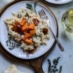 Roasted Butternut Squash Risotto – Fall flavors merge deliciously with sweet butternut squash, crispy prosciutto, shallots, garlic, sage and thyme in creamy risotto. #risotto #butternutsquashrisotto #butternutsquash #fallrecipes #comfortfood #glutenfree #glutenfreedinner #giveitsomethyme | giveitsomethyme.com