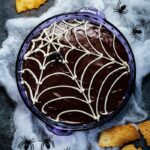 Spooky Chocolate Glazed Cannoli Dip - Kids of all ages will love this easy Dark Chocolate Glazed Cannoli Dip loaded with mini chocolate chips! Make it ahead for an easy and irresistible Halloween treat! #cannolidip #bestcannolidip #halloweendesserts #halloweentreats #makeaheaddesserts #dessertsforparties #giveitsomethyme | giveitsomethyme.com