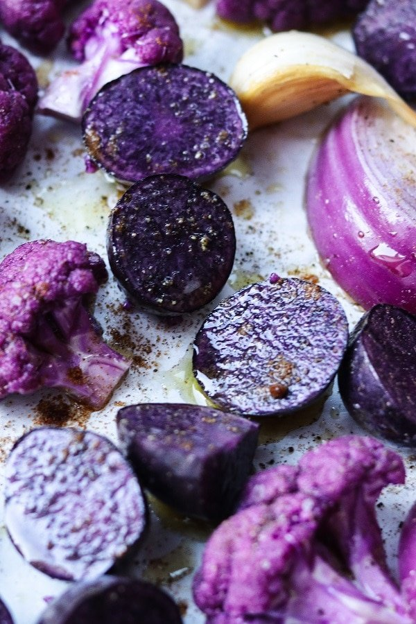 purple veggies prepped for roasting