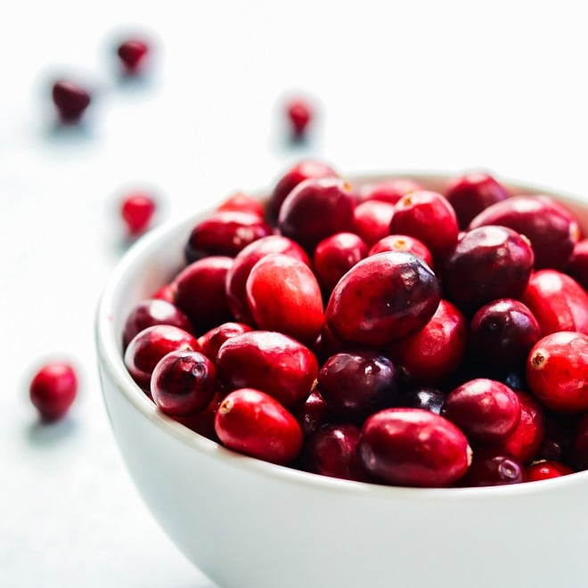 Cranberries in white bowl