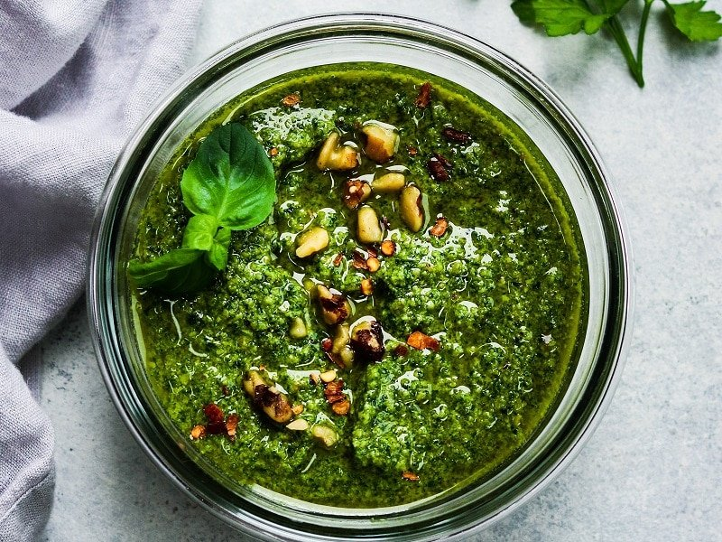 5 Minute Spinach Walnut Pesto – A delicious, quick and easy way to get your greens! It's a put-on-everything sauce - vegetables, steak, chicken, chops, pasta, seafood, eggs, pizza, you name it! #pesto #spinachpesto #walnutpesto #pestosauce #homemadepesto #giveitsomethyme | giveitsomethyme.com