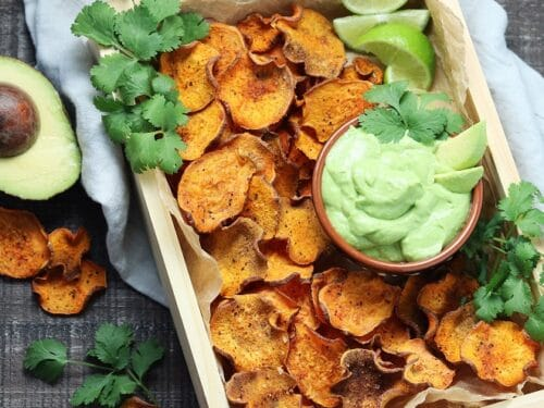 Baked Sweet Potato Chips With Avocado Lime Dip Give It Some Thyme