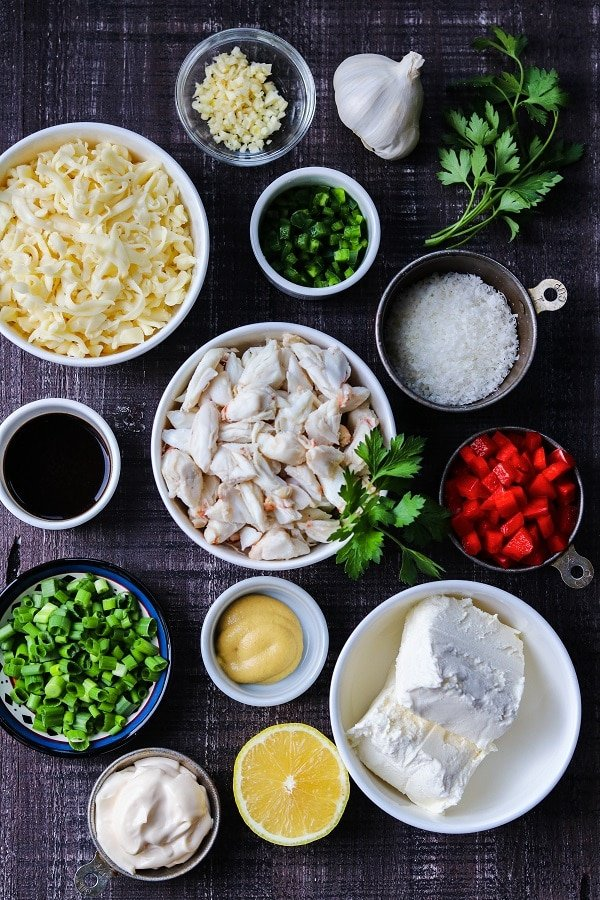 lump crabmeat, cheeses, peppers and other ingredients