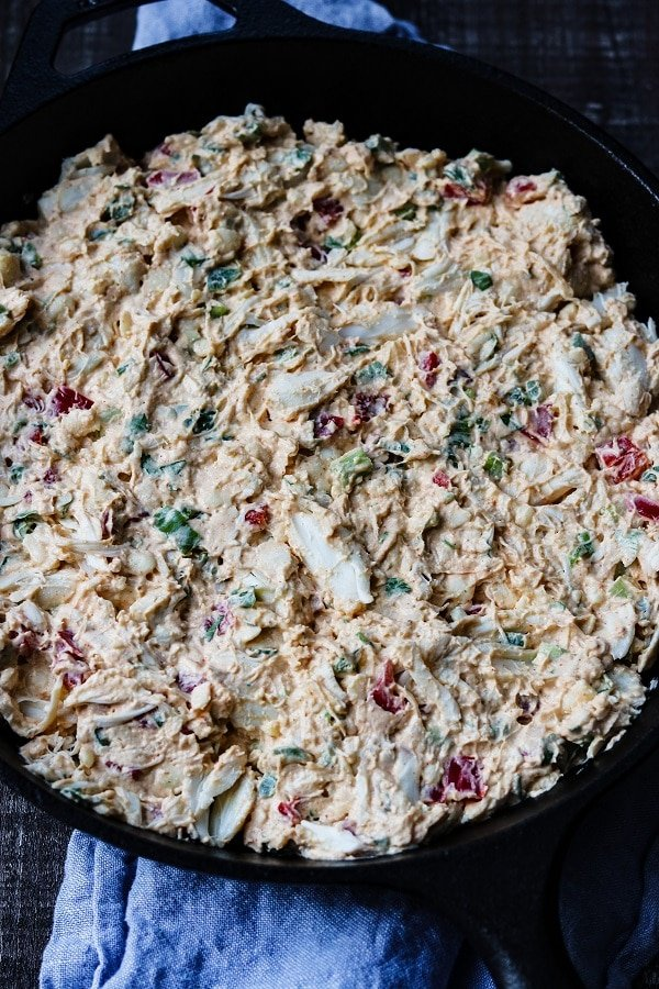mixture spread into cast iron skillet and ready to bake