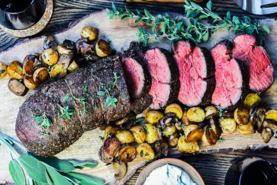Slow Roasted Beef Tenderloin w/ Horseradish Cream Sauce – Celebrate the holidays and special occasions with this easy, elegant, and incredibly delicious Slow Roasted Beef Tenderloin. #beeftenderloin #beeftenderloinroast #filetmignon #holidaydinnerideas #christmasdinner #christmasdinnermaincourse #specialoccasiondinners #glutenfree #giveitsomethyme | giveitsomethyme.com