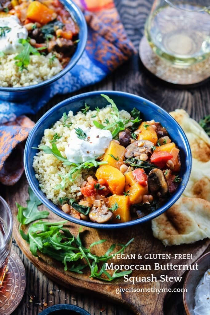 Moroccan Butternut Squash Stew - This Quick & Easy, Vegan & GF stew full of squash, mushrooms, arugula, white beans, tomatoes and spices is what healthy, hearty comfort food is all about. #butternutsquash #butternutsquashstew #moroccanstew #moroccanstewvegan #healthystew #veganrecipes #glutenfreestews #mealprep #giveitsomethyme | giveitsomethyme.com
