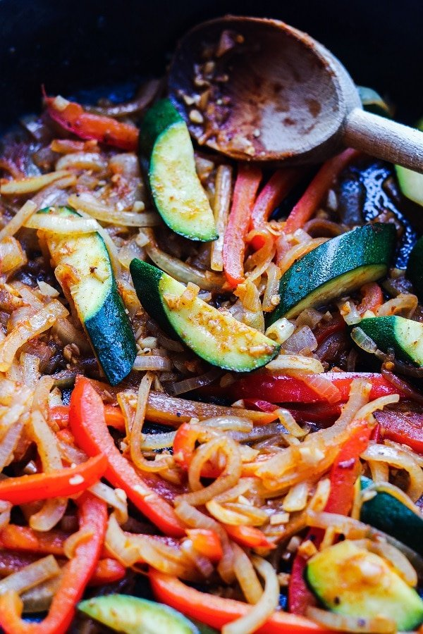 Vegetables sauteed in cast iron skillet
