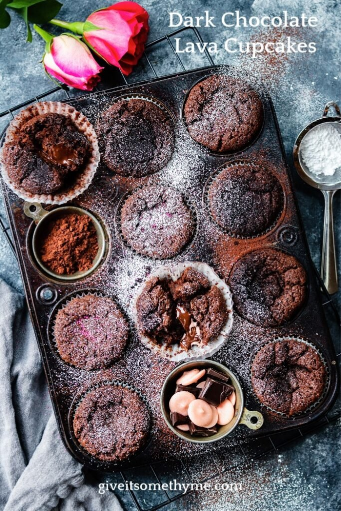 Dark Chocolate Lava Cupcakes - Chocolate lovers' dreams are made of these warm, moist lava cupcakes with slightly crisp edges and oozing silky dark chocolate. Your family will love you even more! #lavacake #lavacupcakes #lavacupcakeseasy #darkchocolatecupcakes #dessert #dessertforparties #valentinesdaydessert #giveitsomethyme | giveitsomethyme.com