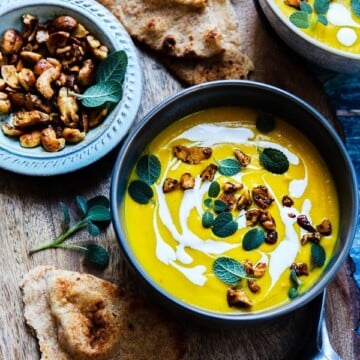 Creamy Vegan Turmeric Cauliflower Soup | giveitsomethyme.com - a super healthy, immune-boosting, bright and delicious soup that's a cinch to make, perfect for meal prep and freezer friendly! Plus it's gluten-free, whole 30 and keto approved!
