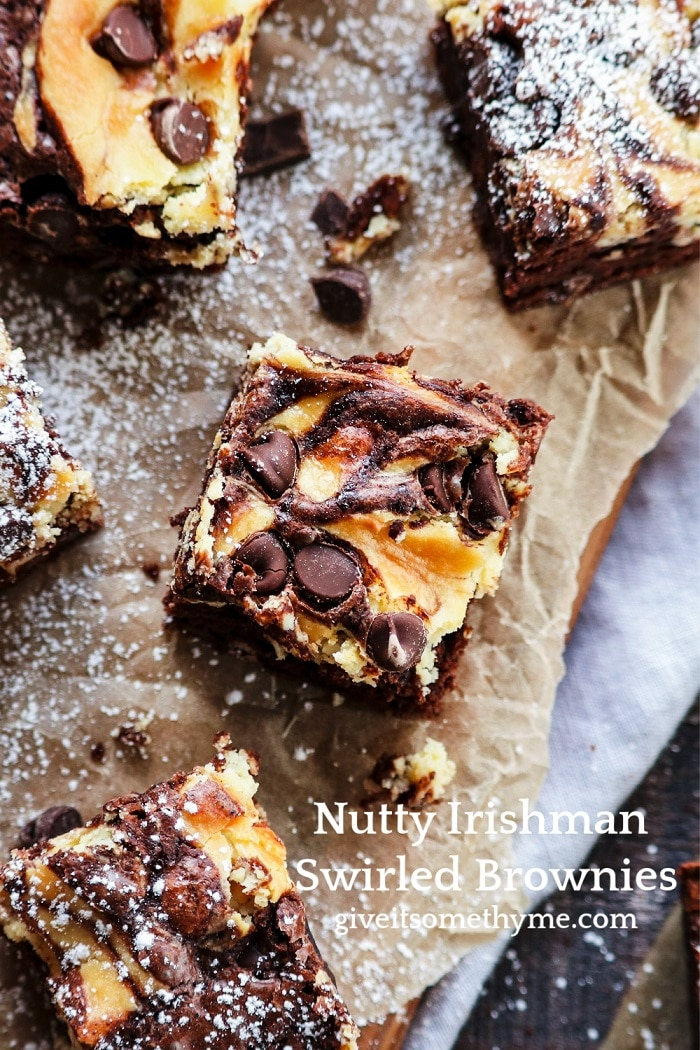 Nutty Irishman Cheesecake Swirled Brownies   Give it Some Thyme - super delicious rich, chocolatey brownies with hints of Baileys and Frangelico! #cheesecakebrownies #brownies #nuttyirishman #nuttyirishmandessert #chocolatebrownies #darkchocolate #stpatricksdayfood #stpaddysdayfood #giveitsomethyme