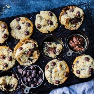 Nutella Stuffed Chocolate Chip Muffins | giveitsomethyme.com – Moist and delicious, easy homemade muffins loaded with dark chocolate chips and generously stuffed with Nutella!