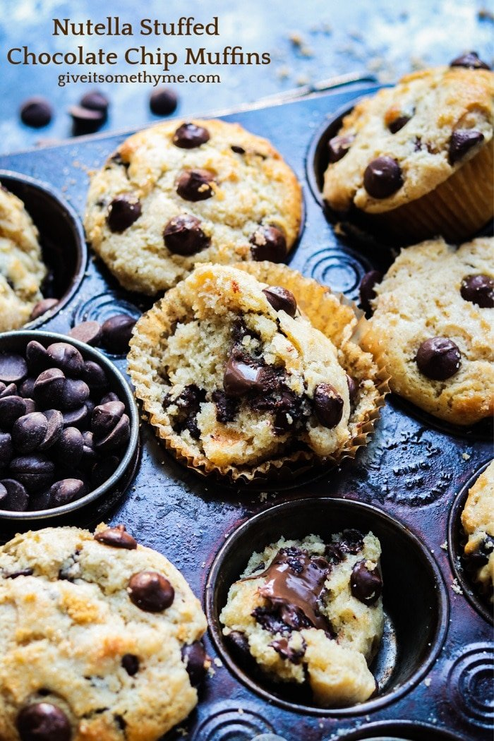 Nutella Stuffed Chocolate Chip Muffins – Moist and delicious, easy homemade muffins loaded with dark chocolate chips and generously stuffed with Nutella!