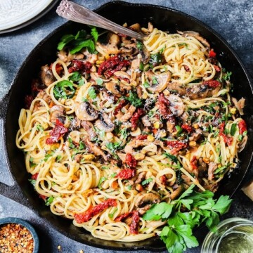 Buttery Pantry Pasta with Mushrooms & Sun-Dried Tomatoes | giveitsomethyme.com – With some simple veggies, butter, a hunk of parm, and a couple things from the pantry, a delicious pasta dinner is just 30 minutes away.