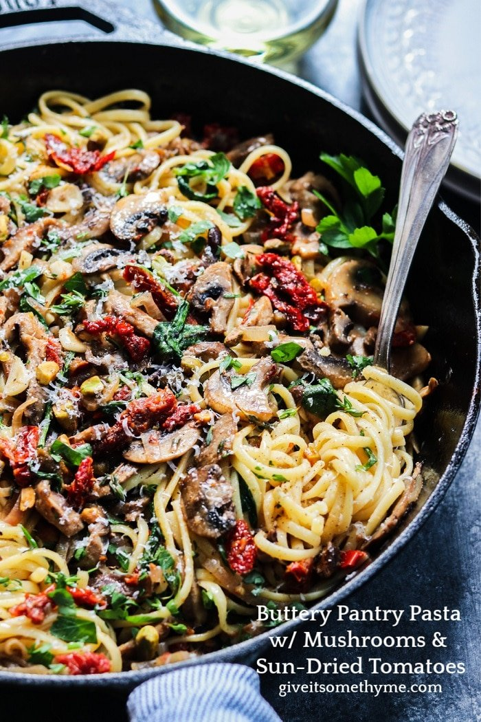 Buttery Pantry Pasta with Mushrooms & Sun-Dried Tomatoes – With some simple veggies, butter, a hunk of parm, and a couple things from the pantry, a delicious pasta dinner is just 30 minutes away. giveitsomethyme.com