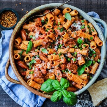 Vodka Rigatoni with Smoked Sausage and Peas | giveitsomethyme.com - full of mouthwatering flavor, budget-friendly and uses ingredients most likely already in your pantry and fridge!