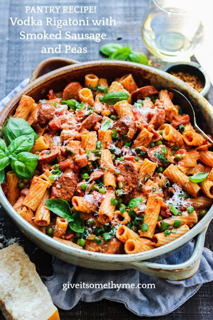Vodka Rigatoni with Smoked Sausage and Peas - full of mouthwatering flavor, budget-friendly and uses ingredients most likely already in your pantry and fridge! #vodkarigatoni #easyvodkarigatoni #pastadinner #pastadishes #italianrecipes #mealprep #budgetmeals #pantryrecipes #giveitsomethyme | giveitsomethyme.com