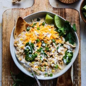 Cheesy Crockpot White Chicken Chili | giveitsomethyme.com - Such an easy, delicious, set-and-forget crockpot recipe made with ingredients you most likely already have in your pantry and fridge!