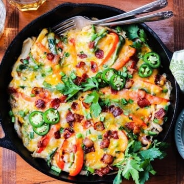 Jalapeño Popper Chicken Skillet | giveitsomethyme.com – Nothing like this easy, delicious, cheesy one-pan meal to spice things up for dinner! Perfect to celebrate Cinco de Mayo and whenever there's a craving for Mexican.
