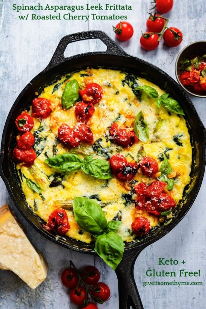 Spinach Asparagus Leek Frittata w/ Roasted Cherry Tomatoes – An easy and flavorful frittata made with fresh seasonal produce! #spinachandasparagusfrittata #frittatarecipes #crustlessquiche #ketorecipes #glutenfreerecipes #breakfastideas #brunchideas #breakfastfordinner #skilletrecipes #cherrytomatoes #vegetarian #giveitsomethyme | giveitsomethyme.com
