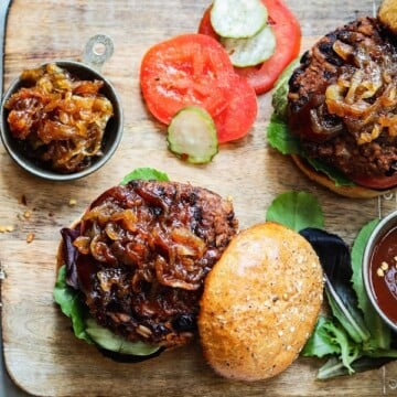 Vegan BBQ Bean Burgers w/ Caramelized Onions | giveitsomethyme.com – Delicious, nutrition-packed bean burgers made with pantry ingredients and can be grilled!