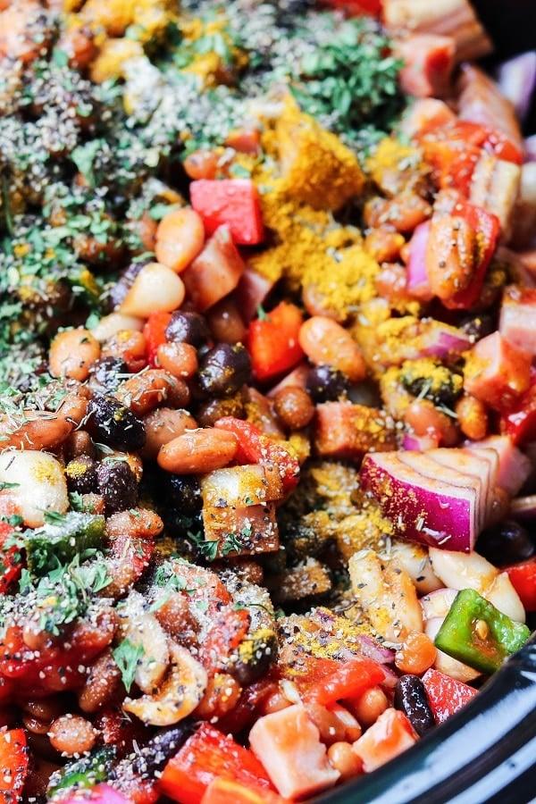 Ingredients in crockpot #bakedbeans #slowcookerbakedbeans #crockpotbakedbeans #sidedishrecipes #july4thfood #bbqsidedishes #barbecuesidedishes #glutenfree #giveitsomethyme | giveitsomethyme.com