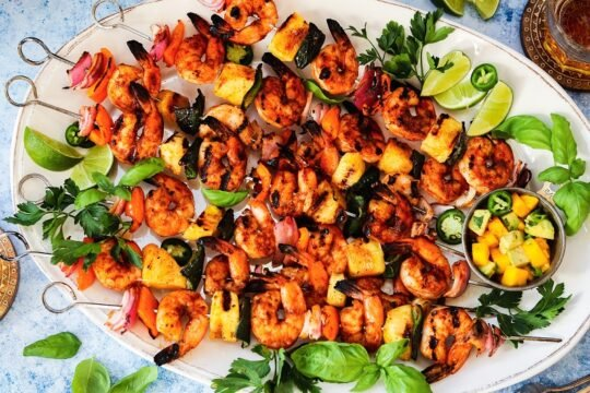 Spicy Adobo Shrimp Skewers with Mango Avocado Salsa - Delicious skewers of shrimp, pineapple, bell and poblano peppers, and red onion coated in a smoky, sweet n' spicy glaze! #shrimp #shrimpskewers #shrimpskewersgrill #adoboshrimp #spicyshrimp #shrimpdinners #summerrecipes #ketorecipes #glutenfreedinner #giveitsomethyme | giveitsomethyme.com