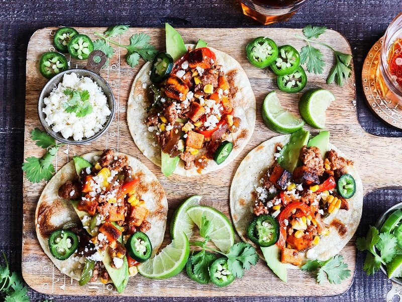 Mexican Chorizo and Sweet Potato Tacos – Quick, easy and delicious tacos for any night of the week. A perfect one-skillet meal! #tacos #tacosrecipes #chorizotacos #mexicanchorizo #chorizoandsweetpotatotacos #mexicanchorizotacos #mexicanrecipes #glutenfreerecipes #oneskilletdinners #onepanmeals #giveitsomethyme | giveitsomethyme.com