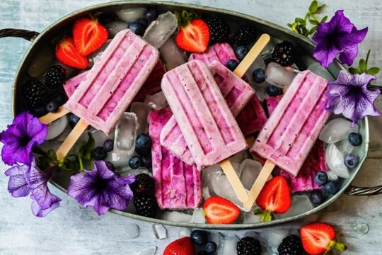 Triple Berry Yogurt Popsicles – 5 ingredients and 5 minutes is all it takes to make these healthy and delicious popsicles you can even enjoy for breakfast! #popsicles #tripleberrypopsicles #berrypopsicles #yogurtpopsicles #yogurtpops #icepops #breakfastpopsicles #healthypopsicles #frozendesserts #summerrecipes #giveitsomethyme | giveitsomethyme.com