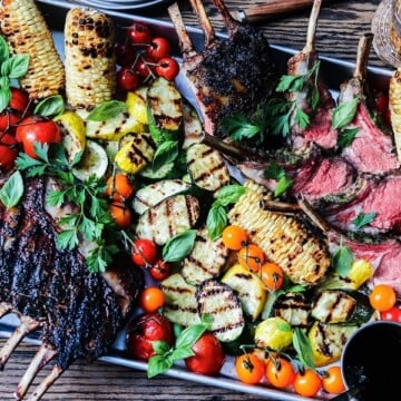 Grilled Rack of Lamb and Summer Vegetables | giveitsomethyme.com – Fire up the grill for an amazing feast of tender lamb charred to perfection along with summer squash, zucchini, corn and tomatoes!
