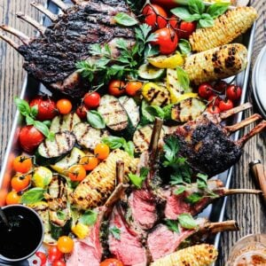 Grilled Rack of Lamb and Summer Vegetables   giveitsomethyme.com – Fire up the grill for an amazing feast of tender lamb charred to perfection along with summer squash, zucchini, corn and tomatoes!
