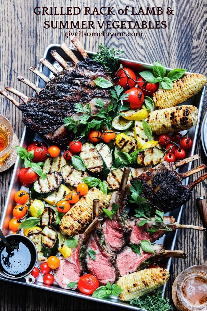 Grilled Rack of Lamb and Summer Vegetables – Fire up the grill for an amazing feast of tender lamb charred to perfection along with summer squash, zucchini, corn and tomatoes! #rackoflamb #grilledrackoflamb #grilledlambchops #grilledlambrecipes #summersquash #glutenfreerecipes #summerrecipes #giveitsomethyme | giveitsomethyme.com