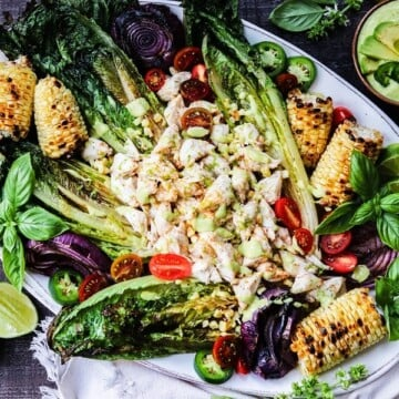 Grilled Romaine Lump Crab Salad w/ Green Goddess Dressing | giveitsomethyme.com – grilled romaine takes greens to another level and a delicious complement to the marinated jumbo lump crab!