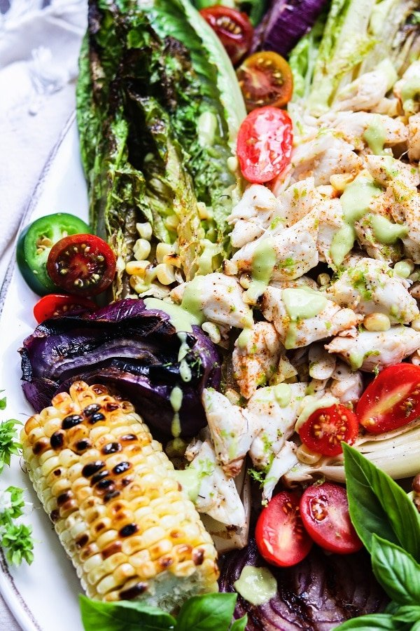 Grilled Romaine Lump Crab Salad w/ Green Goddess Dressing – grilled romaine takes greens to another level and a delicious complement to the marinated jumbo lump crab! #grilledsalad #grilledsaladromaine #jumbolumpcrab #greengoddessdressing #summerrecipes #healthydinners #quickandeasy #lowcarbrecipes #glutenfreesalads #giveitsomethyme | giveitsomethyme.com