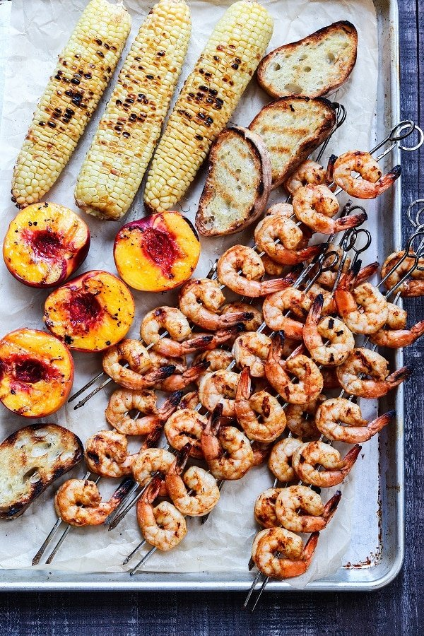 Grilled ingredients on extra-large, rimmed baking sheet