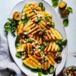 Grilled Yellow Watermelon w/ Cucumber Cantaloupe Salsa – A deliciously vibrant, sweet and smoky summer side or appetizer that will grab everyone's attention. #watermelon #yellowwatermelon #grilledwatermelon #salsa #summerrecipes #healthysidedishes #healthysidedishesforbbq #healthyappetizers #keto #glutenfree #giveitsomethyme | giveitsomethyme.com