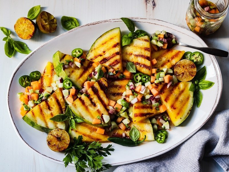 Grilled Yellow Watermelon w/ Cucumber Cantaloupe Salsa – A deliciously vibrant, sweet and smoky summer side or appetizer that will grab everyone's attention. #watermelon #yellowwatermelon #grilledwatermelon #salsa #summerrecipes #healthysidedishes #healthysidedishesforbbq #healthyappetizers #keto #glutenfree #giveitsomethyme   giveitsomethyme.com