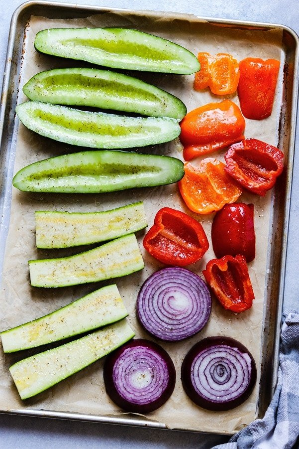 veggies on sheet pan ready to grill
