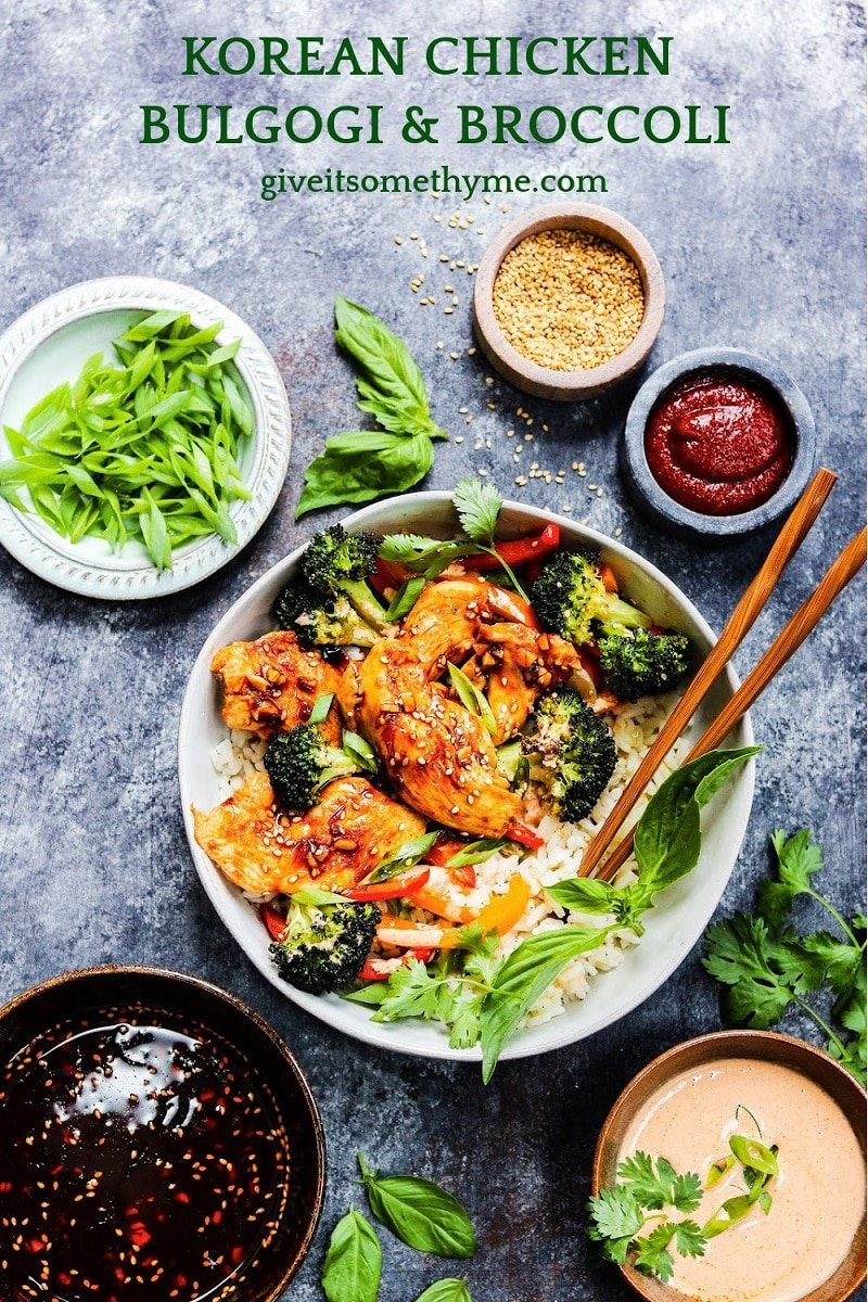 Korean Chicken Bulgogi and Broccoli | giveitsomethyme.com - There is no shortage of flavor when it comes to this delicious sheet pan meal. A perfect meal prep recipe and comes together easily to serve any night of the week! #koreanfood #bulgogi #bulgogibowl #bulgogichicken #koreanchicken #asianrecipes #sheetpandinners #weeknightdinner #mealprep #giveitsomethyme