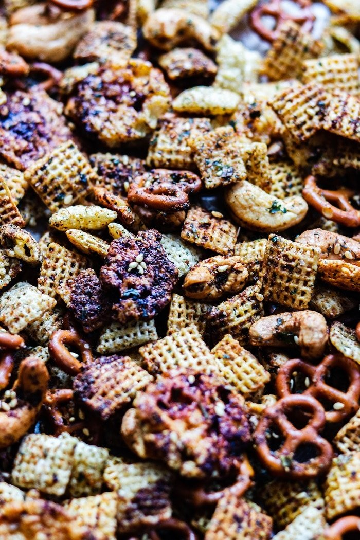 Spicy Garlic Ranch Chex Mix | giveitsomethyme.com - Super easy to make, perfect for game day snacking and downright addictive! #spicychexmix #chexmixrecipes #homemadechexmixrecipe #snackmix #gamedayfood #fingerfoods #easysnacks #easysnacksforaparty #giveitsomethyme