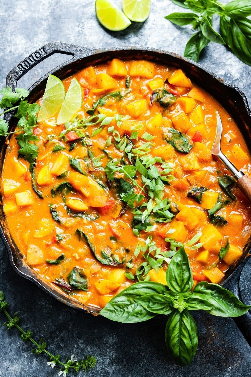 Thai Butternut Squash and Pumpkin Curry | giveitsomethyme.com – You're going to love this quick and easy, rich and spicy, one-skillet vegan Thai curry recipe. Such a healthy and delicious dinner that screams fall! #thaicurry #redthaicurry #thaicurryvegan #thaibutternutsquash #thaibutternutsquashcurry #thaivegancurry #thaipumpkincurry #fallrecipes #healthyfalldinners #skilletrecipes #onepanmeals #giveitsomethyme