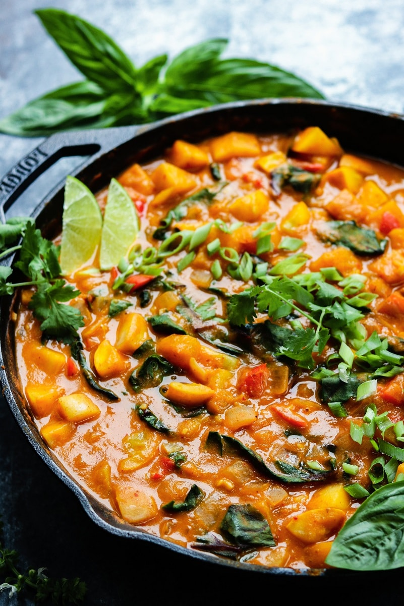 Thai Butternut Squash and Pumpkin Curry   giveitsomethyme.com – You're going to love this quick and easy, rich and spicy, one-skillet vegan Thai curry recipe. Such a healthy and delicious dinner that screams fall! #thaicurry #redthaicurry #thaicurryvegan #thaibutternutsquash #thaibutternutsquashcurry #thaivegancurry #thaipumpkincurry #fallrecipes #healthyfalldinners #skilletrecipes #onepanmeals #giveitsomethyme
