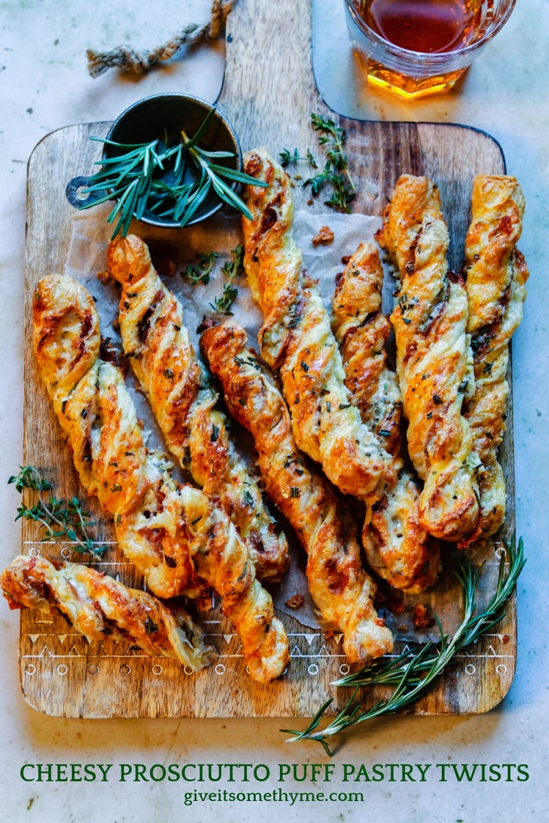 Cheesy Prosciutto Puff Pastry Twists | giveitsomethyme.com – Delicious, light and flaky puff pastry twisted with fontina, prosciutto, Dijon mustard and rosemary. Perfect for game day and holiday snacking!