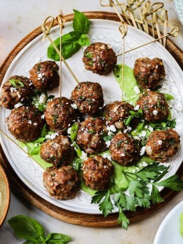 Greek Lamb Meatballs with Creamy Green Herb Sauce   giveitsomethyme.com – These make-ahead meatballs are loaded with garlic, smoked paprika, cumin and oregano for a super flavorful bite. A pinch of red pepper gives them just the right kick that pairs perfectly with the creamy, herby dip!