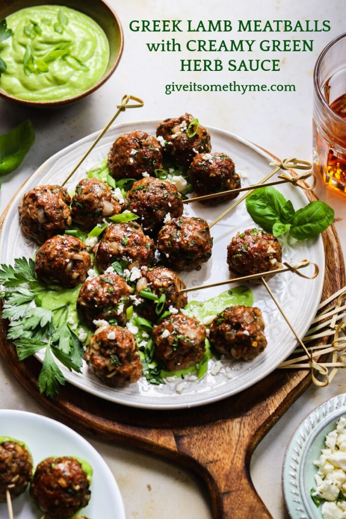 Greek Lamb Meatballs with Creamy Green Herb Sauce | giveitsomethyme.com – These make-ahead meatballs are loaded with garlic, smoked paprika, cumin and oregano for a super flavorful bite. A pinch of red pepper gives them just the right kick that pairs perfectly with the creamy, herby dip! #meatballs #lambmeatballs #lambmeatballsgreek #lambmeatballsbaked #greeklambrecipes #mediterraneanrecipes #appetizers #giveitsomethyme