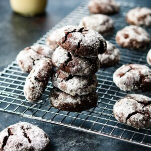 Mocha Midnight Crackles | giveitsomethyme.com – Dark chocolate crinkly cookies with a brownie-like texture that are melt-in-your-mouth delicious. You'll never stop at one!