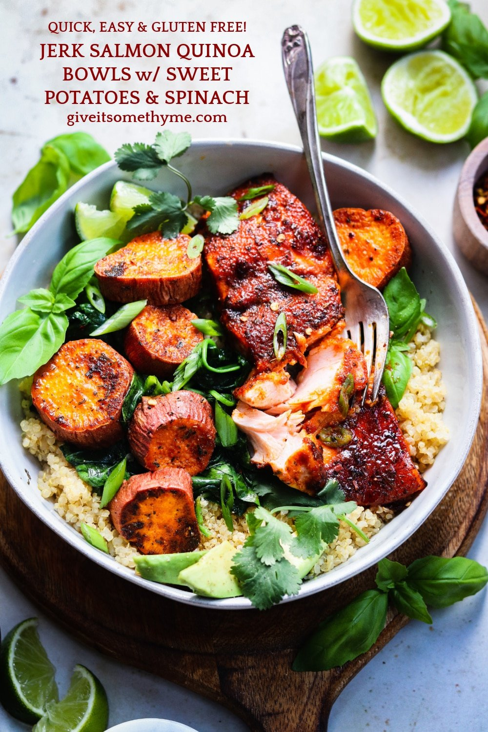 Jerk Salmon Quinoa Bowls w/ Sweet Potatoes & Spinach | giveitsomethyme.com – Fresh salmon fillets slathered in a jerk-spiced glaze along with roasted sweet potatoes and spinach over quinoa is a quick, easy and healthy dinner perfect for any night of the week! #salmonquinoabowl #salmondinnerideas #salmonrecipesbaked #healthydinnerrecipes #glutenfreedinnerseasy #giveitsomethyme