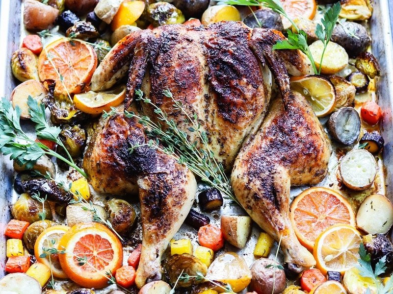 Sheet Pan Citrus Butter Spatchcock Chicken and Potatoes   giveitsomethyme.com – Delicious, tender and juicy chicken with crispy potatoes, Brussel sprouts and carrots round out this easy sheet pan meal perfect for any night of the week. #spatchcockchicken #butterfliedchicken #sheetpandinners #chickendinnerrecipes #chickenandpotatoes #glutenfreedinner #quickandeasydinners #giveitsomethyme