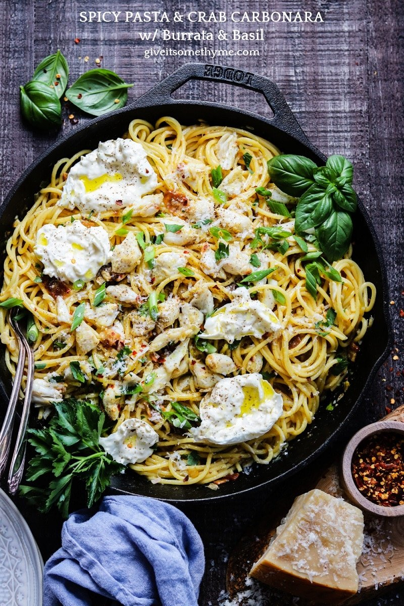 Spicy Pasta & Crab Carbonara with Burrata | giveitsomethyme.com - An irresistible twist on pasta carbonara with succulent hunks of jumbo lump crab lingering in silky smooth, eggy sauce with spaghetti, crispy bacon and creamy burrata!