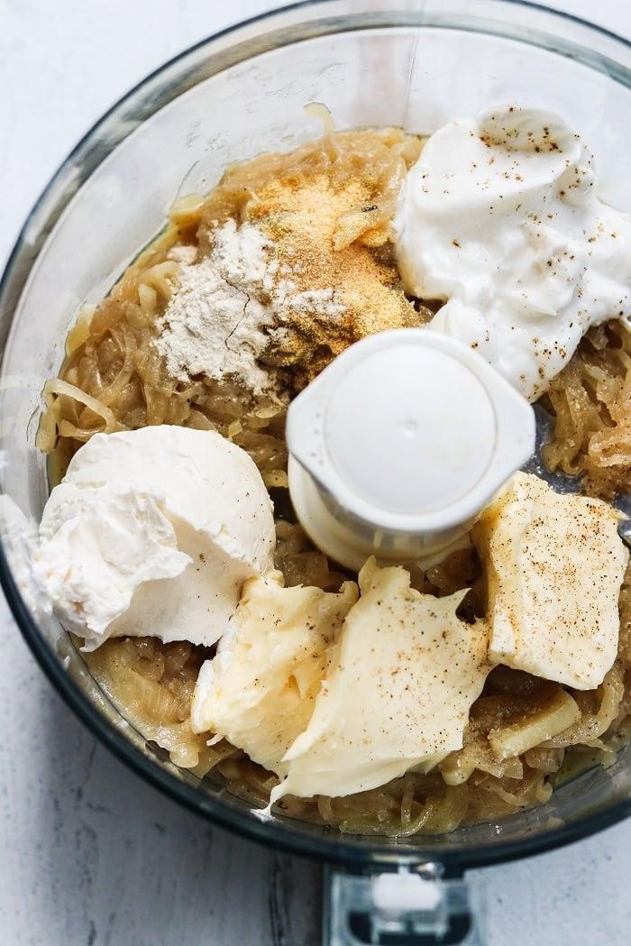 onion dip ingredients in food processor
